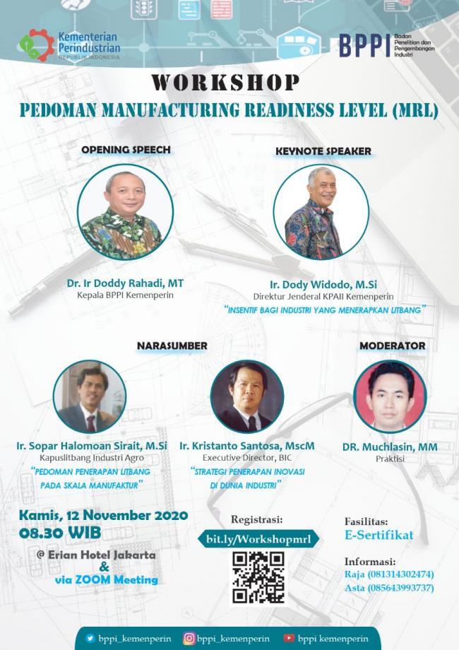 Info Webinar : Workshop Pedoman Manufacturing Readiness Level (MRL)